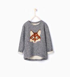 Image 1 of Sequinned fox sweatshirt from Zara