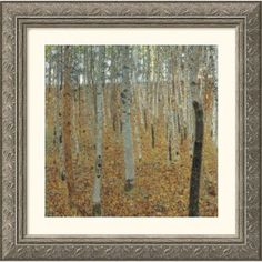 Great American Picture Birch Forest Silver Framed Print - Gustav Klimt - 234413-Silver