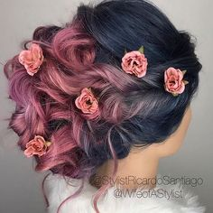 Wedding hairstyles great hair, dark violet hair, blue and pink hair, blue. Hair Color For Black Hair, Cool Hair Color, Hair Colors, Blue And Pink Hair, Violet Hair, Dark Hair, Dye My Hair, New Hair, Coloured Hair