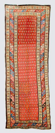 Persian-Serabend-rug around 1900, ghiordes-knot, worn, ends missing 320*117 cm