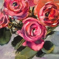 I promise orignal ranunculus painting Original art painting by Kim Smith - DailyPainters.com