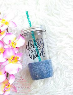 Kinda Classy Kinda Hood Glitter Tumbler / Glitter Mason Jar Tumbler / Funny Tumbler / Funny Mug / Kinda Classy Kinda Savage / Glitter Glass Mason Jar Cups, Mason Jar Tumbler, Glitter Mason Jars, Glitter Cups, Mason Jar Crafts, Glitter Tumblers, Tumbler Cups, Coffee Tumbler, Coffee Mugs
