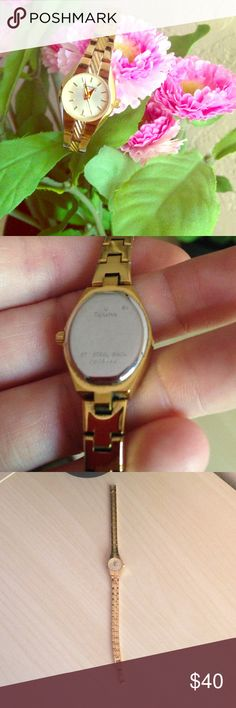 Caravelle by Bulova gold watch Beautiful Carvelle small gold watch. Womens. No flaws, works great! Does not come with original box, does not come with extra links. Gently worn a few times for special occasions but found myself liking Nixons much more. Serial # shown on back. Bulova Accessories Watches