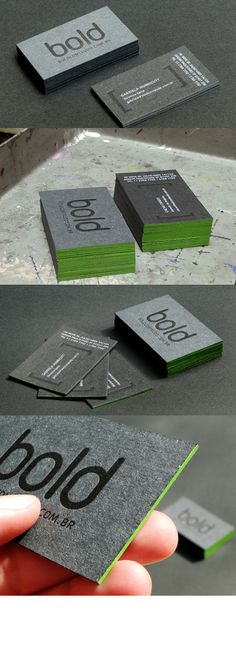 Unique Letterpress Cards - beautiful BOLD business cards edge painted green