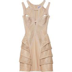 Hervé Léger Perforated leather bandage dress (68840 MAD) ❤ liked on Polyvore featuring dresses, vestidos, short dresses, hervé léger, women, cut out mini dress, leather dress, mini dress, cutout dress and peplum bandage dress