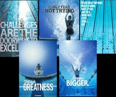 YourSwimBook Motivational Swimming Posters 5-pack - $116. Exclusive swim posters made by competitive swimmers for competitive swimmers. Available only at YourSwimLog.com Swimming Posters, Swimming World, Swimmers, All Poster, Poster Making, Retail Price, Competition, Motivational, Challenges