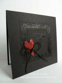 Masculine Valentine's Day card...black embossing frame w/ red heart & twine. Love it!