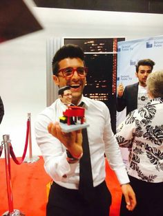 Piero's reaction after receiving his birthday gift from Judy Paullin Thurman on behalf of the Original Flight Crew in Detroit, 7.06.15