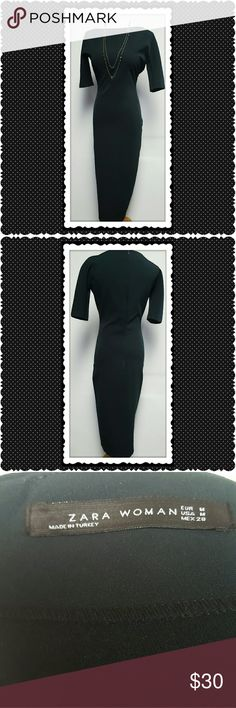 Zara Green Bodycon Dress Zara, long green bodycon dress. 3/4 length sleeves. Round neckline. Scuba fabric. Back zip closure. Perfect, no flaws. Zara Dresses
