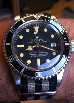 Rolex Oyster Perpetual Date Red Sea Dweller 500m with Nato Strap.  Vintage Rare.