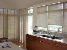 Hunter Douglas Designer Roller Shades are available in over 330 beautiful fabrics. All of which can match perfectly with other Hunter Douglas window shades, to create a beautiful cohiesive appearance throughout your home. Hunter Douglas, Small Roller Blinds, Waterproof Blinds, Roman Shades Kitchen, Aluminum Blinds, House Blinds, Kitchen Window Treatments, Roller Shades, Window Coverings