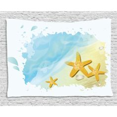Starfish Decor Tapestry, Artistic Beach Sand Small Rocks Aquatic Life Animals Exotic Vacation Theme, Wall Hanging for Bedroom Living Room Dorm Decor, 60W X 40L Inches, Multicolor, by Ambesonne #beachthemedweddings