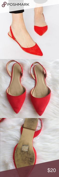 Pointed Toe Slingback Flats Red ASOS Pointed toe sling back flats. Perfect for dressing up any outfit and are great walking shoes. Signs of wear that the toe and sole but in good condition. Says size nine but would better fit an 8.5. ASOS Shoes Flats & Loafers