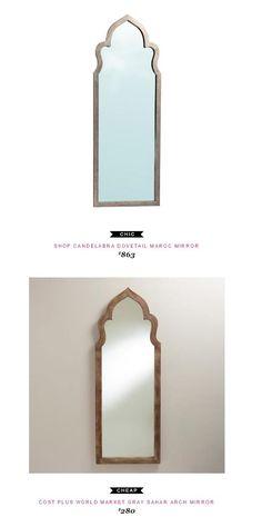 Shop Candelabra Dovetail Maroc Mirror $863 vs Cost Plus World Market Gray Sahar Arch Mirror $280