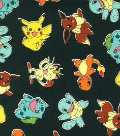 Pokemon Character On Black Cotton Fabric