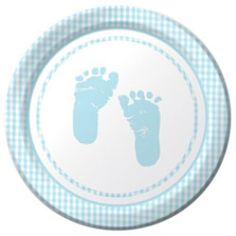 Cheap Baby Shower Party Supplies feature cute baby boy footprints in the center and a light blue plaid border along the edges. Select items in this ensemble include the phrase Baby Shower. This themed