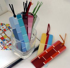 8 fun things to do with recycled paint chip bookmarks. Paint Sample Cards, Paint Samples, Paint Chip Art, Paint Chips, Fun Crafts, Crafts For Kids, Paper Crafts, Diy Bookmarks, Homemade Bookmarks