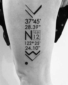 Coordinate Tattoos can be pretty cool. Coordinate Tattoos represent a person's birthplace, where their ancestors are from, places they have traveled, etc.