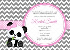 Pink and Grey Chevron Panda Bear Girl Baby Shower Invitation and FREE Thank You… Baby Shower Invites For Girl, Baby Shower Games, Baby Boy Shower, Panda Baby Showers, Panda Bebe, Panda Nursery, Panda Gifts, Panda Party, Baby Shower Invitaciones