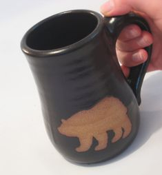 Bare Bear Mug  Natural Clay Wild Animal Silhouette by pottersong, $22.00