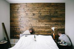 Dark Walnut Wood Wall in Master Bedroom