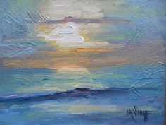 """Daily Painters Abstract Gallery: Small Seascape Sunset Painting, Daily Painting, Small Oil Painting, 6x8"""" impasto painting"""