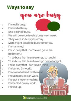 How to say you are busy English Conversation Learning, English Learning Spoken, Teaching English Grammar, English Writing Skills, English Language Learning, English Lessons, English Sentences, English Phrases, Learn English Words