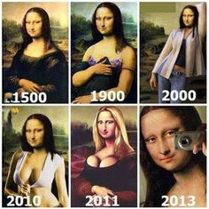 Funny evolution of Mona Lisa Funny Quotes, Funny Memes, Jokes, Funny Videos, Cool Pictures, Funny Pictures, Monalisa, Funny Captions, Disney Memes