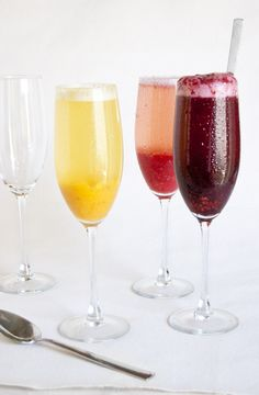 Summer Bellini Bar. Purée selection of fruit separately in blender. (Recipes also avail. for special purées.)   To assemble the drinks, guests should use about 1 1/2 oz. of purée of choice and top with Prosecco (a dry champagne will also work well). Stir gently to preserve the Prosecco's effervescence.