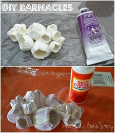 Whats Ur Home Story: Clay barnacles Diy Clay, Clay Crafts, Diy And Crafts, Seashell Crafts, Beach Crafts, Clay Projects, Diy Craft Projects, Clay Cup, Under The Sea Party