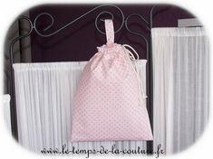 SAC POCHON ENFANT à doudou, à goûter ou pour chaussons – Tons de rose et taupe – FAIT MAIN