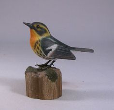 Blackburnian Warbler Hand Carved and Hand Painted Wood Bird | jj-studio - Earth Friendly on ArtFire