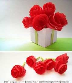 Easiest paper roses EVER. Doilies, one cut, roll into a cone and tape (Paper Paint and Plane