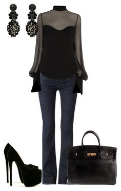 """Casual On A Date With Sexy"" by sweetnuff ❤ liked on Polyvore featuring Hudson Jeans, Alexander McQueen, Mimco and Hermès"