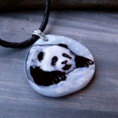 Cute Baby panda  Fused glass pendant by ArtoftheMoment on Etsy