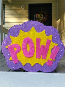 PLEASE READ SHOP INFO FOR UPDATES  Super Hero Girl Pinata.  Measures approximatelly 20 inches wide and 17 inches tall.  It can hold up to 10 pounds of candy (not included)