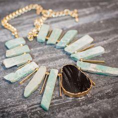 Win worth of semi precious stone Oia Jules jewellery Black Agate, Gold Accessories, Mint Color, Sea Foam, Turquoise Bracelet, Cuff Bracelets, Deserts, Chain, Stone