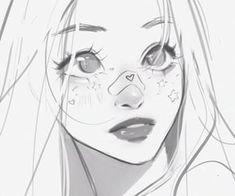 Smile Drawing, Art Drawings Sketches Simple, Anime Face Drawing, Female Face Drawing, Girl Face Drawing, Anime Drawing Styles, Body Sketches, Cute Art Styles, Cartoon Art Styles