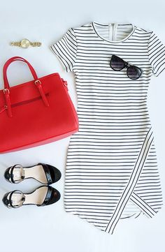 Simple, minimalist, stylish black and white dressed paired with some dark shades and black flats.Feeling bold? Add a red bag and gold watch and you're in business.