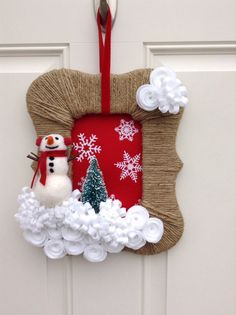 RESERVED LISTING for Michon - Christmas Wreath - Snowman wreath - Twine Wrapped Wreath - Felt Flower Wreath on Etsy, $45.00