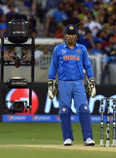 Cricket Photo: You talking to me? The spider cam catches up with MS Dhoni History Of Cricket, Icc Cricket, Test Cricket, Cricket Sport, Cricket World Cup, Me Dhoni, Dhoni Quotes, Ms Dhoni Wallpapers, Cricket Quotes