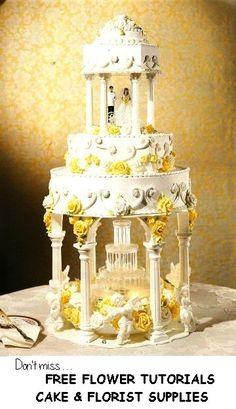 Fountain Wedding Cakes.  Wedding cake photos of beautiful wedding cakes with water fountains.