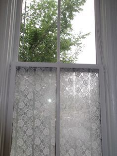 glue lace to your window for privacy using spray starch OR you can make your own!!! CRAFTYmoira shares her recipe!! THX ;o)