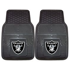 Protect your vehicles floors with the Oakland Raiders Vinyl Car Floor Mat Set.  The two piece set is made of durable vinyl with the Raiders NFL logo permanently molded in the center.