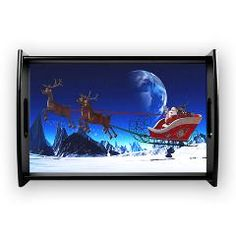 Santa Claus and his Reindeers Small Serving Tray