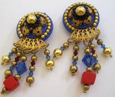 Vintage Egyptian Revival Cobalt Blue & Red by Sisters2Vintage, $21.00