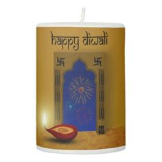 Festive Happy Diwali Fireworks - Pillar Candle - light gifts template style unique special diy