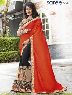 ORANGE AND BLACK GEORGETTE SAREE WITH EMBROIDERY WORK