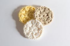 Cotton Face Scrubbies - set of 3 - crochet face scrubbies makeup remover cotton scrubbies eco-friendly scrubby valentines gift (4.50 USD) by ShadyCreekFarmNC