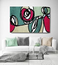 Vibrant Colorful Abstract-0-49. Mid-Century Modern Green Red